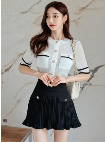 Summer New Round Neck Slim Tee with Pleated Skirt