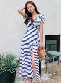 Wholesale Korea Tie Waist V-neck Stripes Cotton Dress