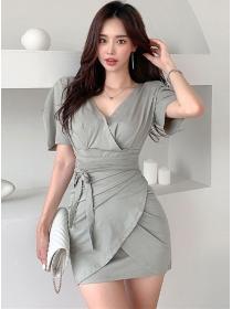 Fashion Korea Tie Waist V-neck Bodycon Short Sleeve Dress