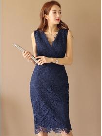 Summer Fashion V-neck Lace Flowers Slim Tank Dress
