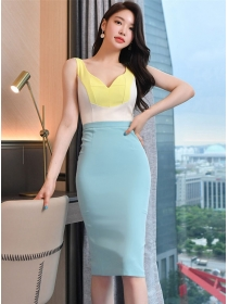Summer Fashion Color Block V-neck Bodycon Tank Dress