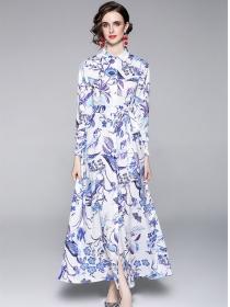 Autumn New Tie Waist Shirt Collar Flowers Maxi Dress