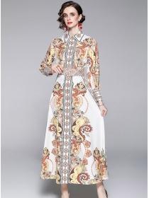 Europe Autumn New Shirt Collar Belt Waist Flowers Long Dress