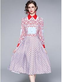 Lovely Europe Doll Collar Dots Hears Long Sleeve A-line Dress