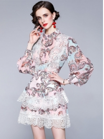 Retro Women Fashion Lace Splicing Puff Sleeve Dress Set