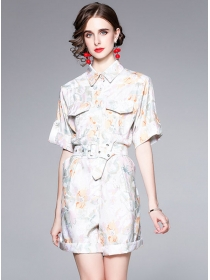 Brand Fashion Shirt Collar Belt Waist Flowers Short Jumpsuit