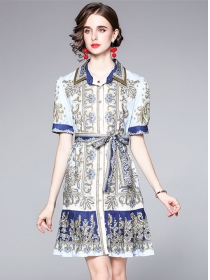 Wholesale Europe Shirt Collar Flowers Single-breasted Dress