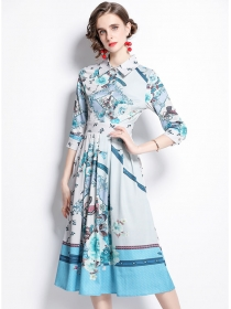 Europe Preppy Shirt Collar Pleated Flouncing Flowers Dress