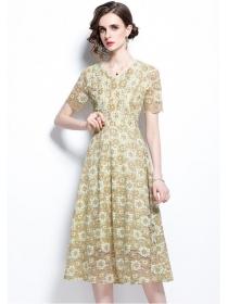 Elegant Fashion V-neck High Waist Lace Flowers Dress