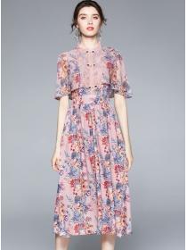 Charming Lady Wraps Shoulder High Waist Flowers Dress