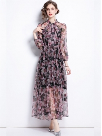 Summer Fashion High Waist Tie Collar Flowers Maxi Dress
