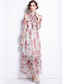 Charming Europe Tie Collar Flowers Chiffon Maxi Dress