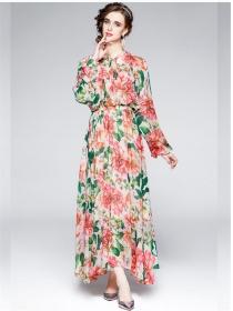 Pretty Women Fashion Elastic Waist Flowers Chiffon Maxi Dress