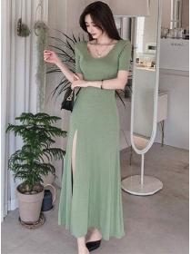 Wholesale Korea Round Neck Split Slim Cotton Long Dress