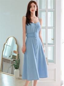 Modern Lady Single-breasted Belt Waist Straps A-line Dress