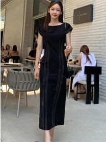 Simple Fashion Round Neck Slim Waist Stripes Long Dress