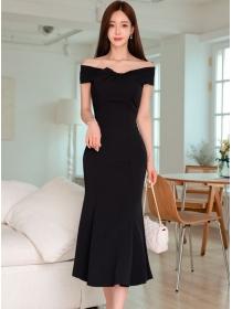 Wholesale Korea Boat Neck Slim Fishtail Long Dress