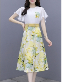Hot Selling 3 Colors Chiffon Blouse with Flowers A-line Skirt