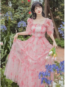 Charming New Elastic Bust Flowers Puff Sleeve Fluffy Maxi Dress