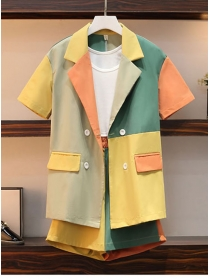 Hot Sell Color Block Elastic Waist Double-breasted Plus Suits
