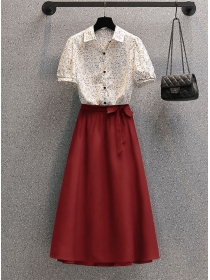 Summer Plus Size Flowers Blouse with A-line Long Skirt