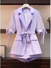 Hot Sell Plus Size Tailored Collar Tie Waist Shot Suits