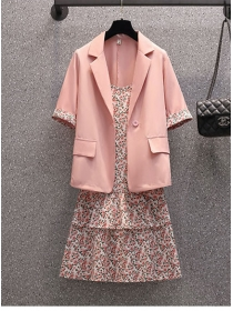 Grace Plus Size Tailored Collar Jacket with Flowers Straps Dress