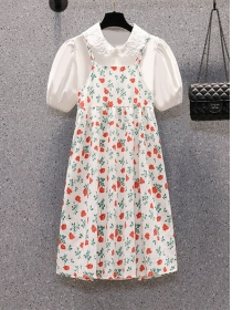 Preppy Plus Size Doll Collar Blouse with Flowers Straps Dress