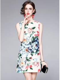 Pretty Europe Beads Rhinestones Flowers Tank A-line Dress