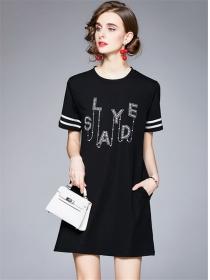 Summer Fashion Round Neck Rhinestones Letters A-line Dress