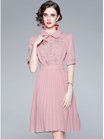 Modern Lady Doll Collar Flowers Embroidery Pleated Dress
