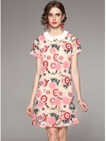 Europe Doll Collar Flowers Embroidery Short Sleeve Dress