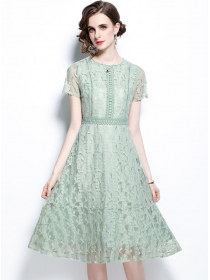 Fashion Europe Round Neck Lace Flowers A-line Dress