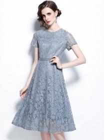 Retro Wholesale High Waist Round Neck Lace Long Dress