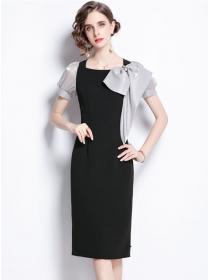 Elegant Fashion Bowknot Square Collar Puff Sleeve Slim Dress