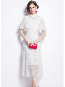 Europe Fashion High Waist Puff Sleeve Lace Long Dress