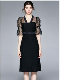 Retro Grace High Waist Dots Puff Sleeve Splicing Slim Dress