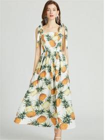 Pretty Summer High Waist Pineapples Tie Straps Long Dress