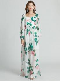 Brand Fashion High Waist Boat Neck Padded Flowers Maxi Dress