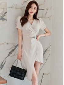 Summer Fashion V-neck Tie Waist Short Sleeve Slim Dress