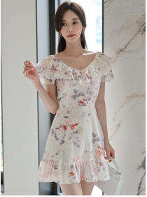 Charming New Flouncing Boat Neck Flowers Fishtail Dress