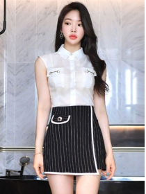 Summer New Shirt Collar Tank Blouse with Stripes A-line Skirt