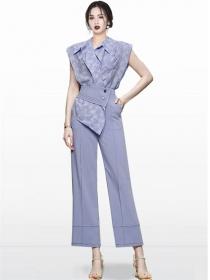 Grace Women Shirt Collar Flowers Blouse with Long Pants