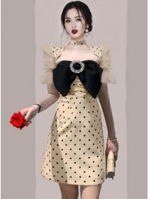 Retro Korea Puff Sleeve Bowknot Bust Dots Slim Dress