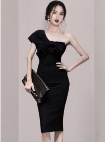 Wholesale Korea Bowknot Off Shoulder Bodycon Dress
