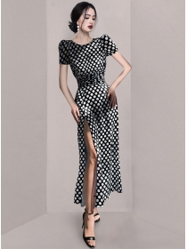 Summer Fashion Fitted Waist Dots Split Slim Long Dress