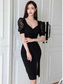 Korea Stylish V-neck Puff Sleeve Pleated Skinny Dress