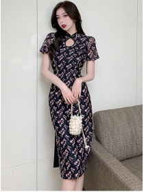 Retro Korea Fashion Flowers Short Sleeve Bodycon Dress