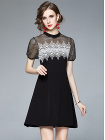 Summer Fashion Hollow Out Lace Splicing Puff Sleeve Dress