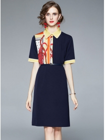 Retro Grace Color Block Doll Collar Short Sleeve Loosen Dress